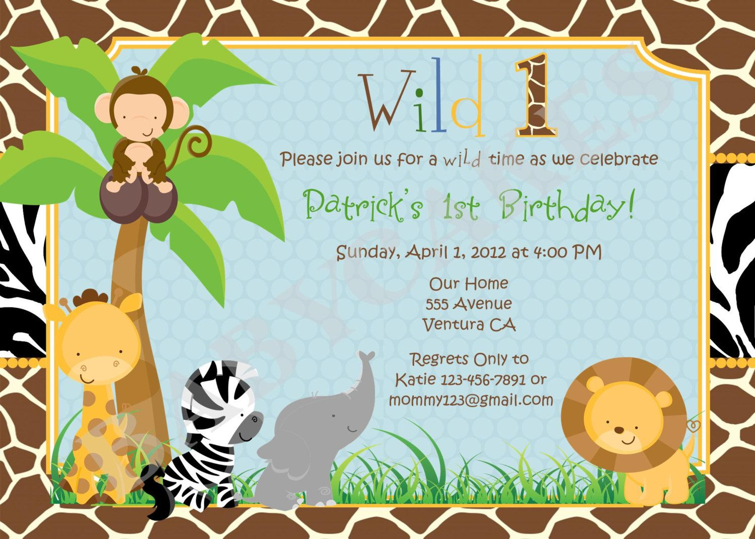 Jungle Animal Photo Invitations Background 1 HD Wallpapers | Baby ...