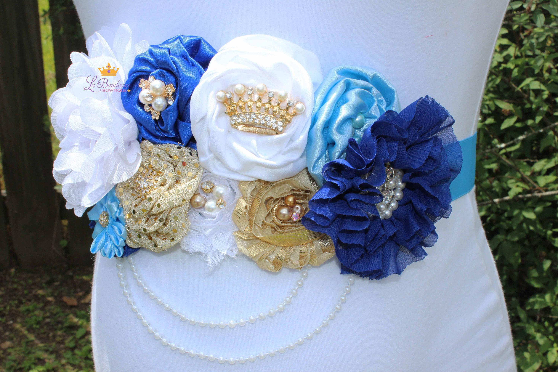 Royal Prince Gold White Royal Blue Baby Blue Maternity Sash