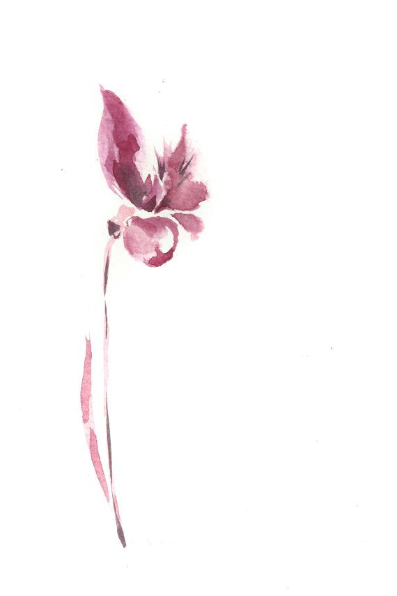 Minimalist Flower Watercolor Painting Art Print Abstract Modern