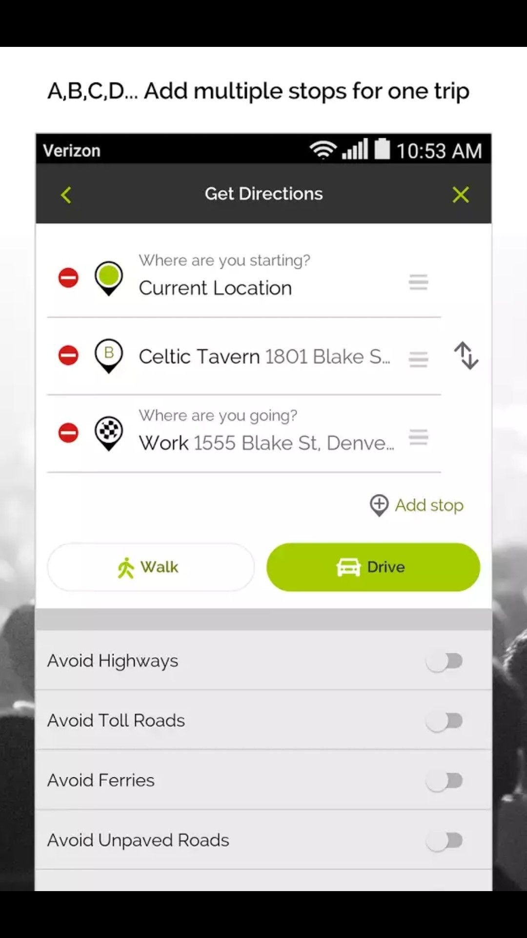 MapQuest multi stop input App design, Get directions