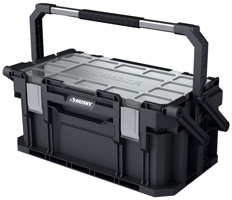 Husky 22 In Connect Cantilever Compartment Portable Toolbox Storage Organizer Husky Cantilever Tool Box Portable Tool Box Tool Box