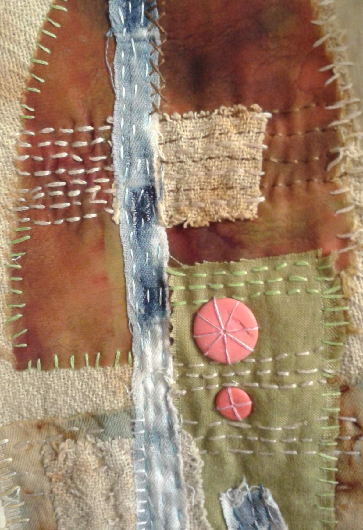 kantha stitching on rusted and discharged fabric