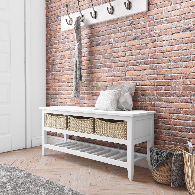Elms farmhouse shoe rack storage bench hallway table with