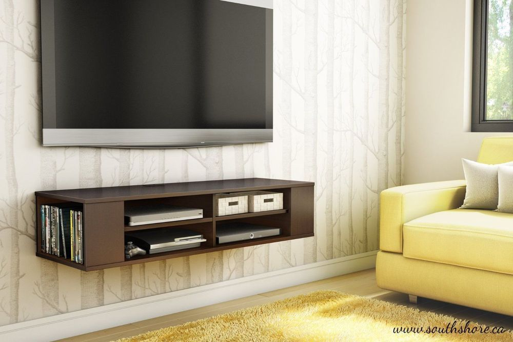 Details About Wall Mount Media Center Shelf Floating Entertainment Console Tv Stand Cabinet