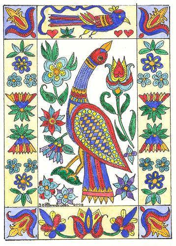 Colors Fraktur Aceo Bird Flowers Tulips By Theodora By Theodoradesigns American Folk Art Pattern Art Scandinavian Folk Art
