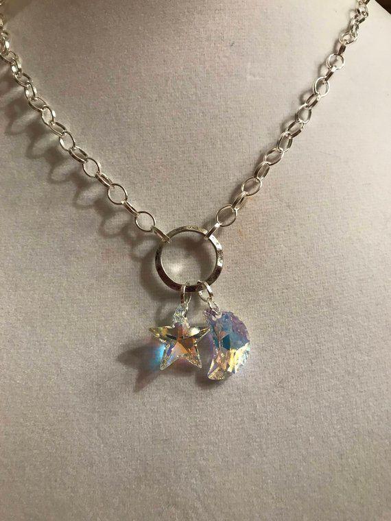 2f77cf1a79a Swarovski Crystals Celestial Necklace * Swarovski Crystal Star and Moon *  Silver Circle Necklace * S