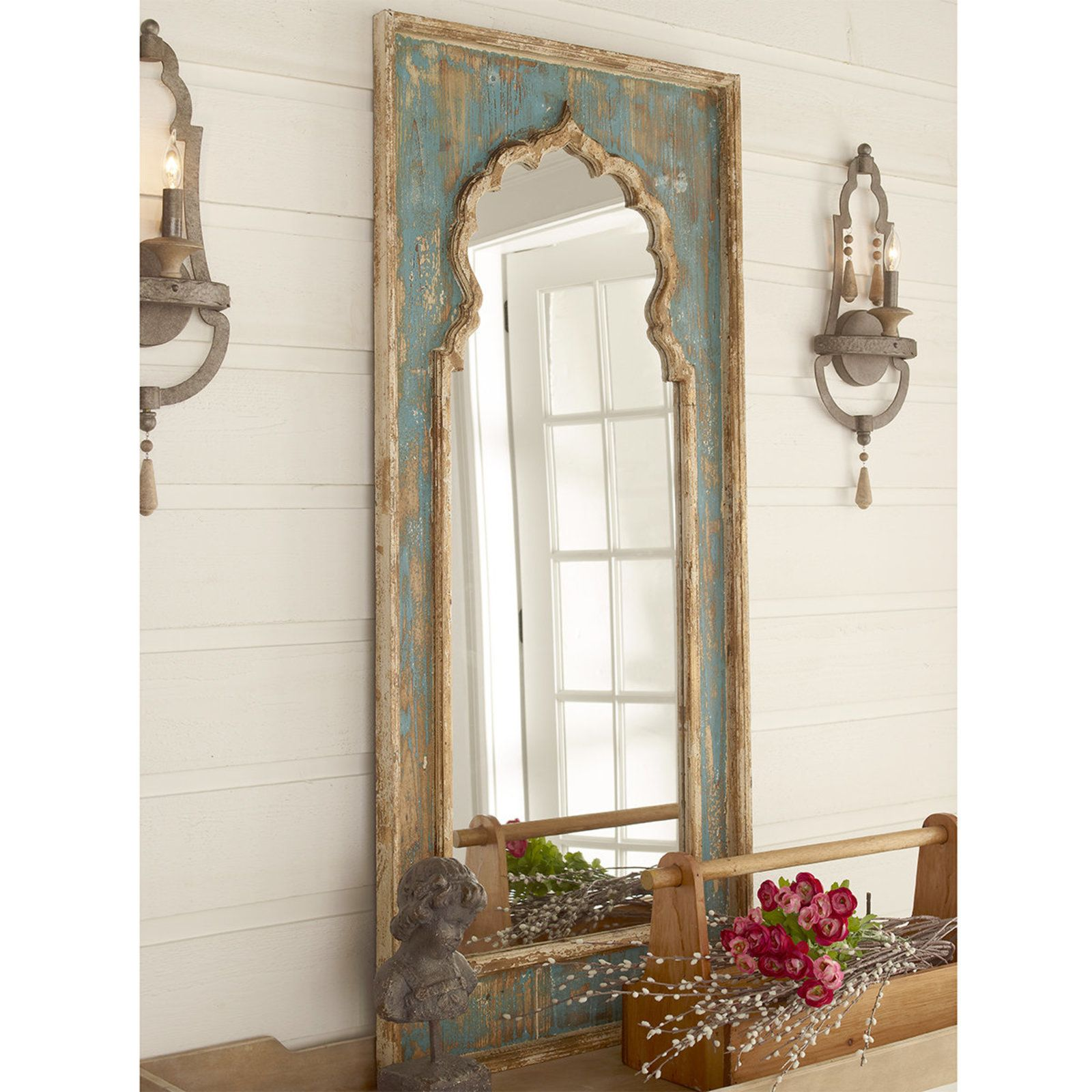 Distressed Painted Wood Mirror Distressing Painted Wood Mirror Decor Wood Mirror