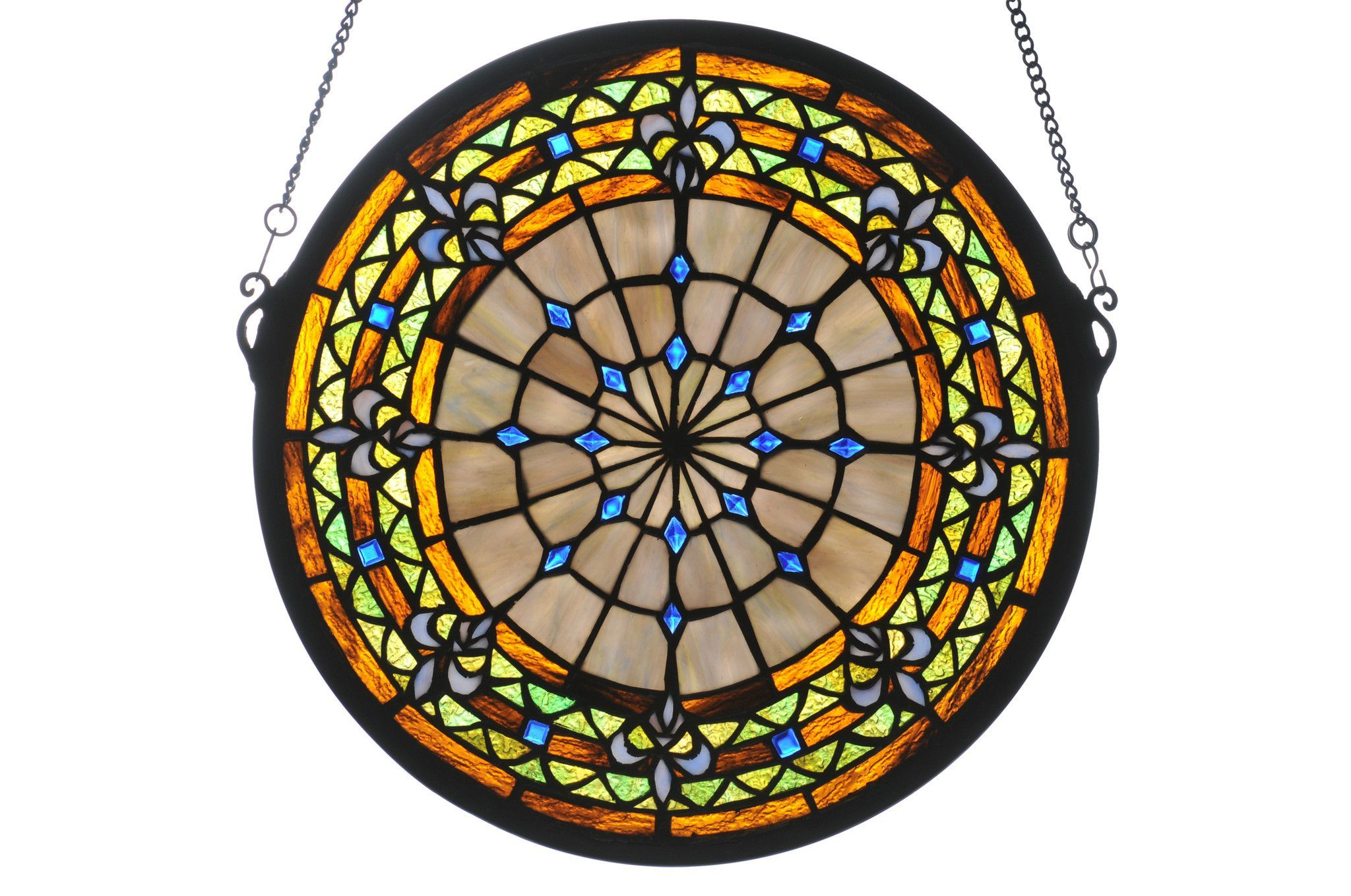 baroque glass stained tiffany floral pin window medallion style