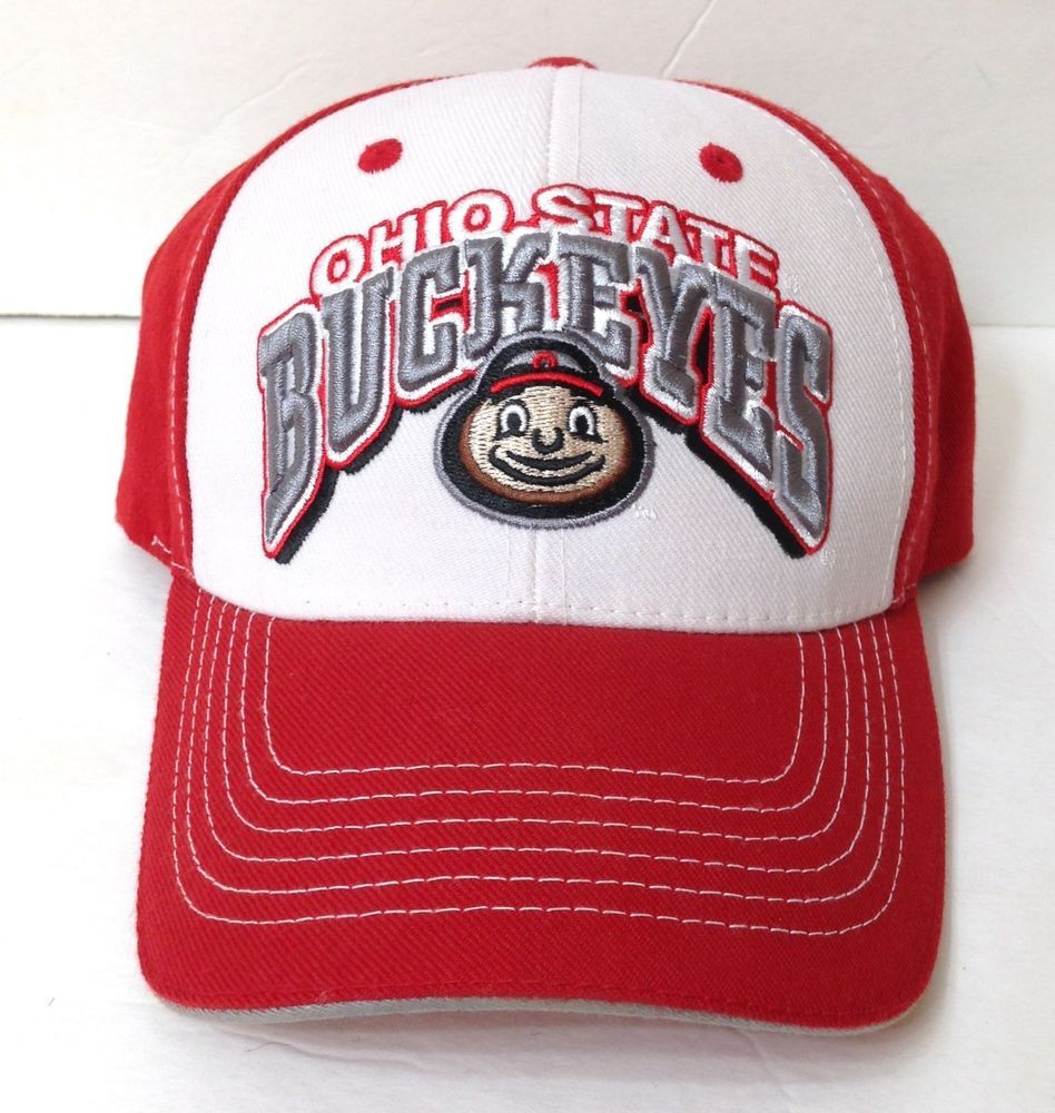 f65419f6eb8 New OHIO STATE BUCKEYES HAT White Red Brutus Curved Structured Fit  Men Women OSU  TopoftheWorld  OhioStateBuckeyes
