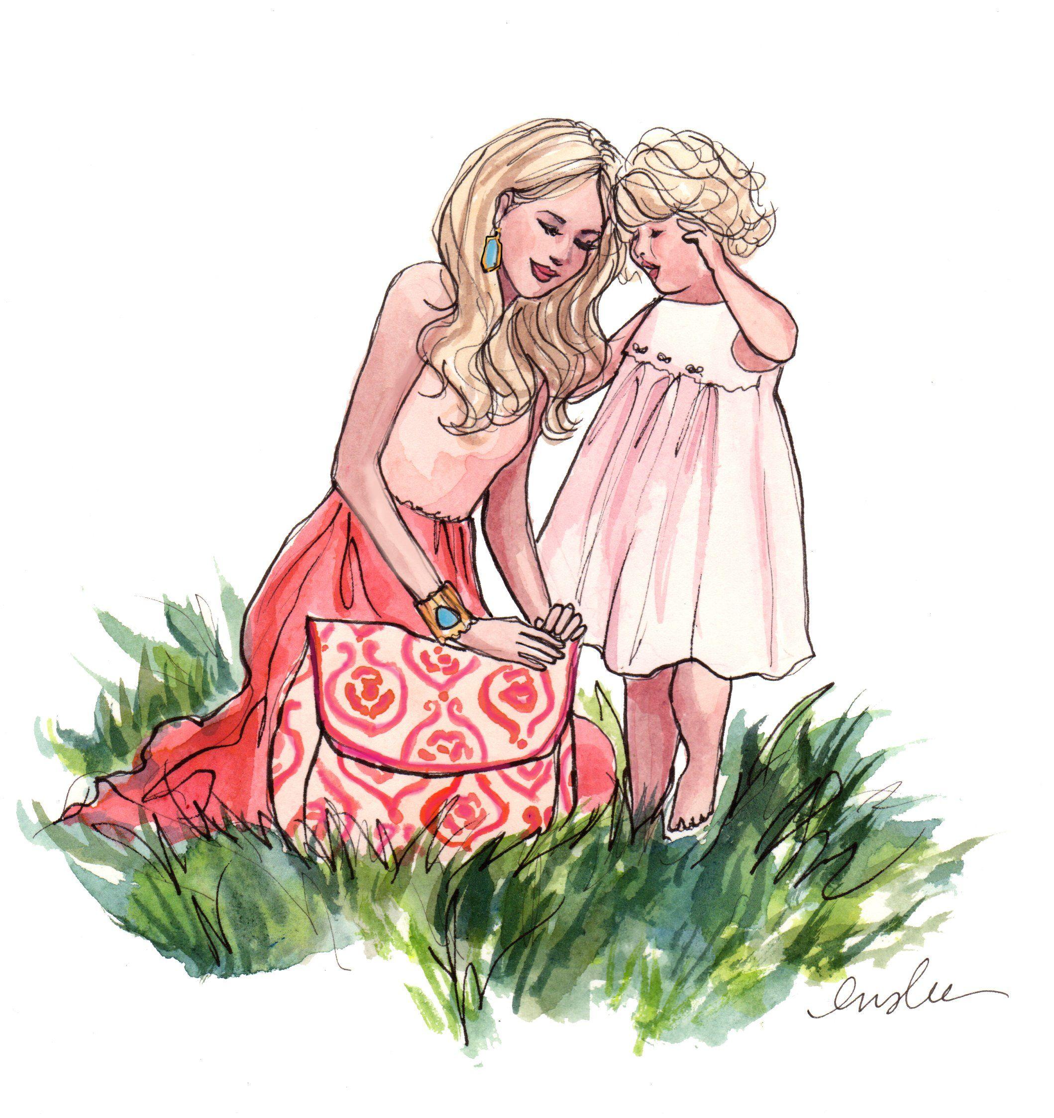Картинки мама и дочь красивые нарисованные со словами