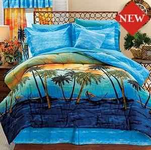 Boat Palm Tree Blue Summer Beach Twin Full Comforter Set Comforter Sets Queen Comforter Sets Beach Comforter