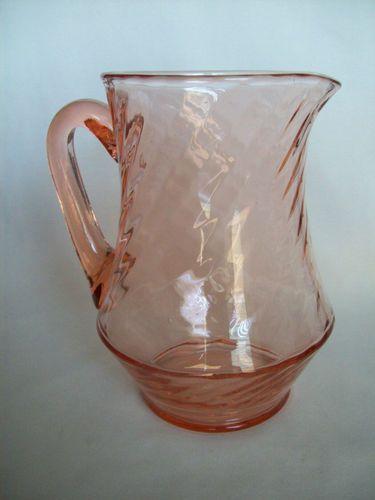 Vintage Pink Depression Glass Swirl Glass Pitcher