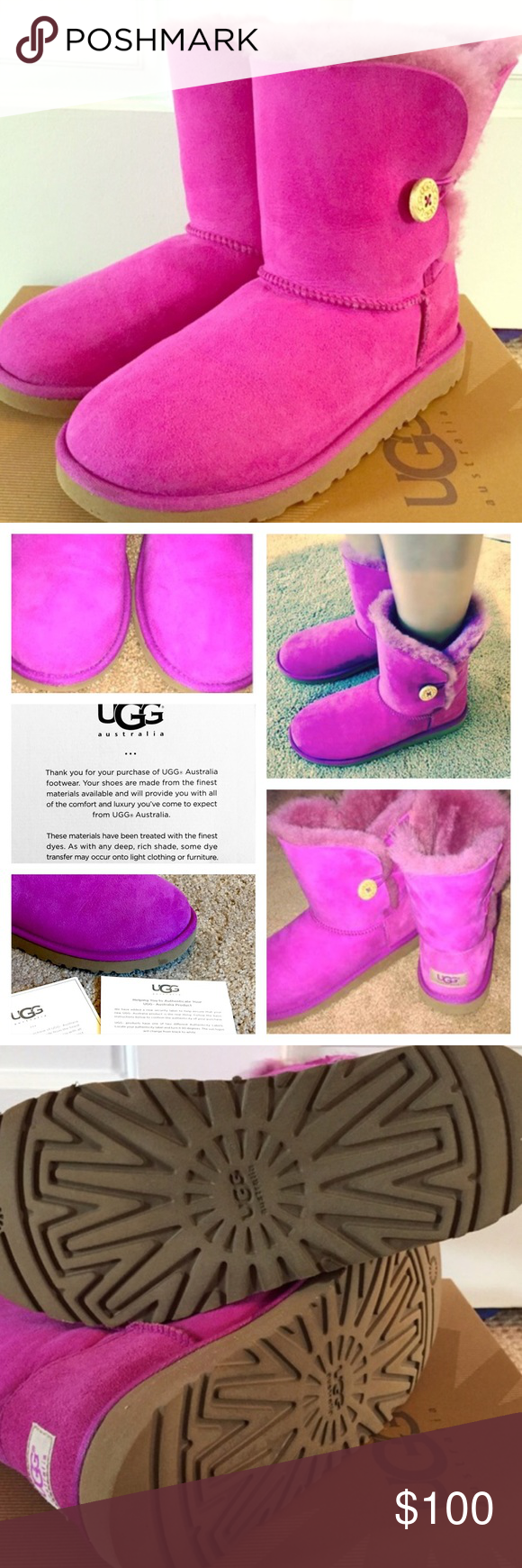 Magenta Pink Authentic Australian UGG Bailey Boots Magenta Pink Authentic Australian UGG Bailey Boots, Size 6 K (Kids). I wear a size 8, and the 6K is an equivalent to an adult size 7.5-8. SEE BOX SIZE!! DOES FIT SIZE 8!!!!!!!!!!!!!. Practically brand new. Does have small spot on front bottom of shoe (see 2nd/last picture). Made in China. Includes pics of the interior tags, security label, and box label. See 2nd picture of me modeling them and other angles of the boots. Security label turns…