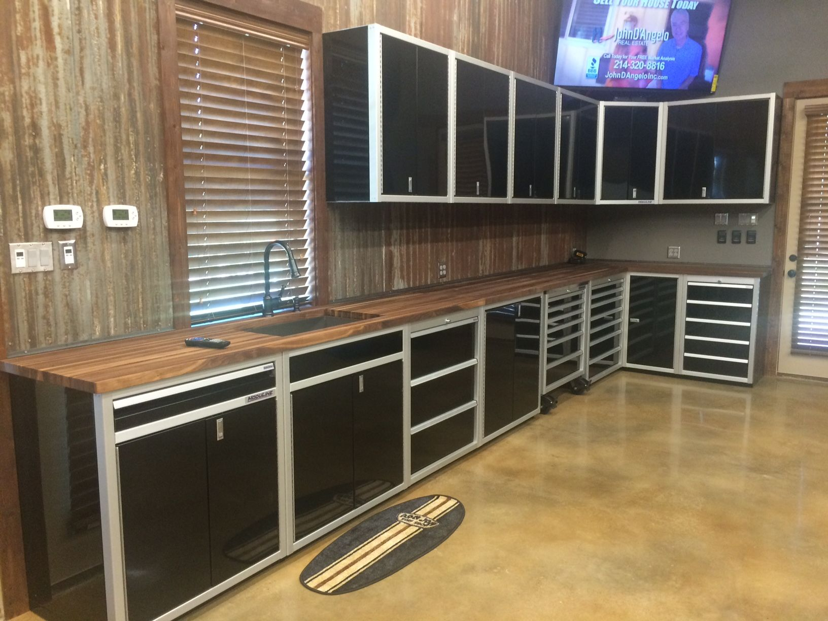 Lovely Moduline Cabinets In A Garage In Texas. Black Aluminum Cabinets. Butcher  Block Counter Top