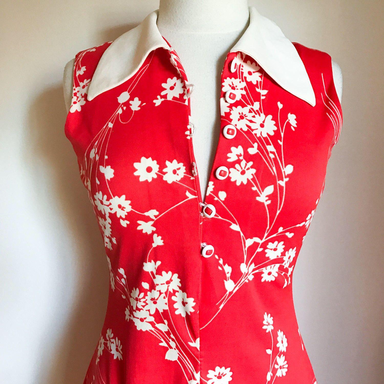 Us mod dress red vintage dress floral motif dress us mod