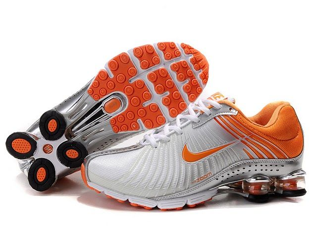 Nike Shox NZ Nike Shox Shoes Womens Nike Shox White Orange Metallic Silver  Womens Nike Shox  Beautiful Womens Nike Shox White Orange Metallic Silver