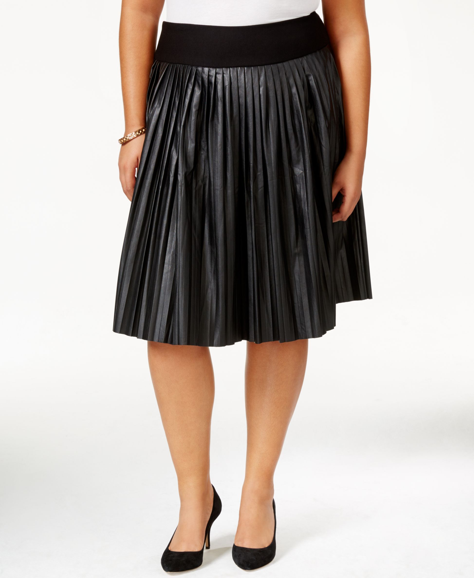 mccarthy seven7 plus size pleated faux leather a