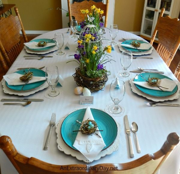 Spring Tablescaping ~ Bird\'s Nest Themed Easter Table   Easter table ...
