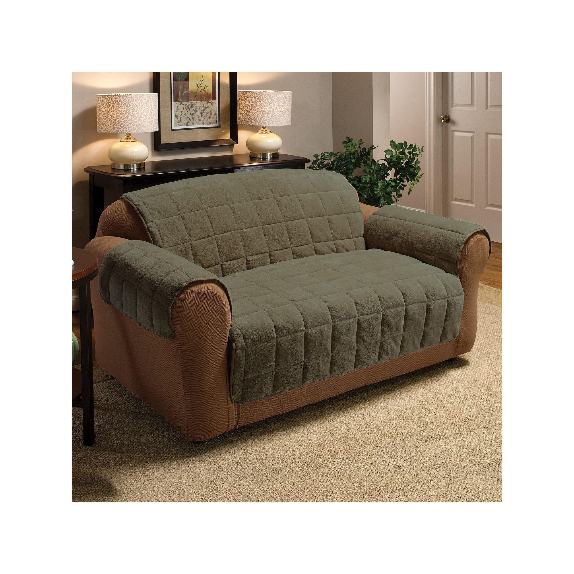 Textile Solutions Plush XL Sofa Slipcover Dark Green
