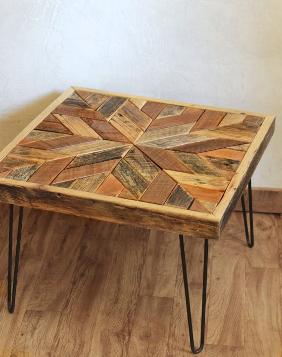 Chevron Pallet Coffee Table star pattern coffee table with hairpin legs - barn wood