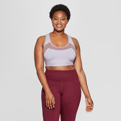 312a4e585934c Women s Plus Size Strappy Open Back Sports Bra - C9 Champion Smoked Lilac 1X