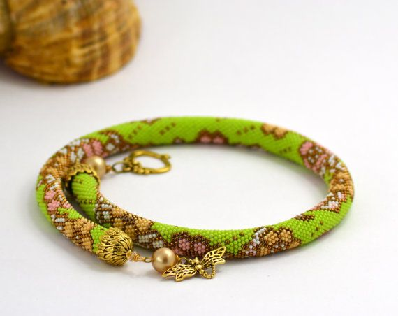 OOAK Bead Crochet Necklace Sunny day  Gift for her   by LeeMarina, $129.50