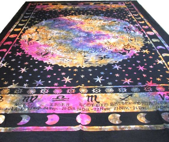 ASTROLOGY Horoscope Zodiac Tapestry Hippie Curtain Wall Hanging Indian Tapestry Throw Bedspread