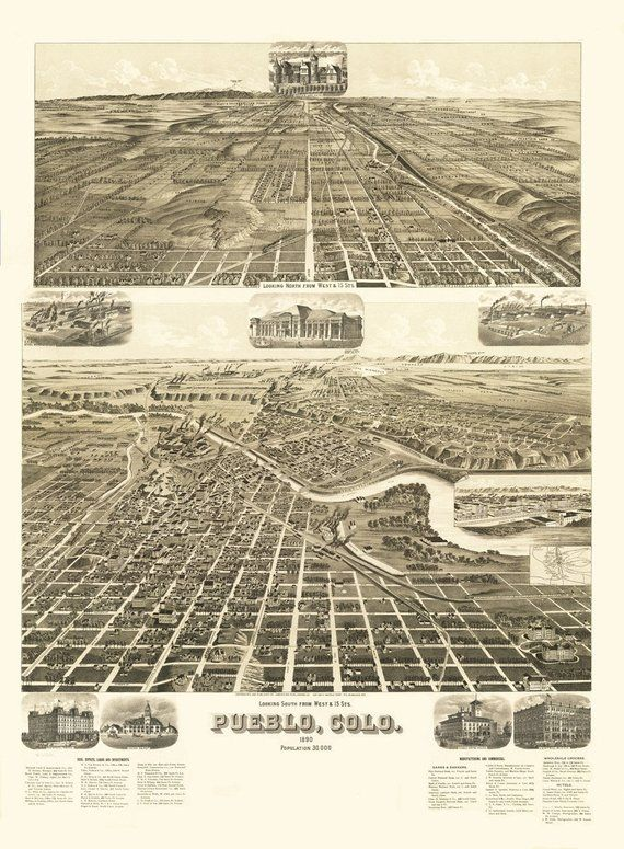 Vintage Map Pueblo Colorado 1890 In 2019 Products Pinterest