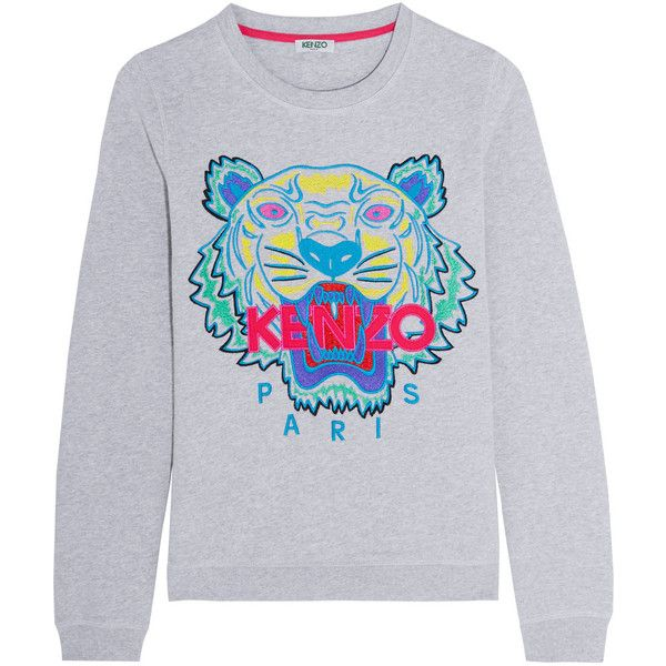 a9122768 Kenzo Tiger embroidered cotton sweatshirt, Women's, Size: L ($250) ❤ liked  on Polyvore featuring tops, hoodies, sweatshirts, tiger sweatshirt, tiger  print ...