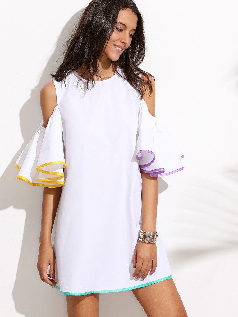 Blanco Spanish Vestido Volantes Descubiertos Hombros Shein qpjzLVGSUM