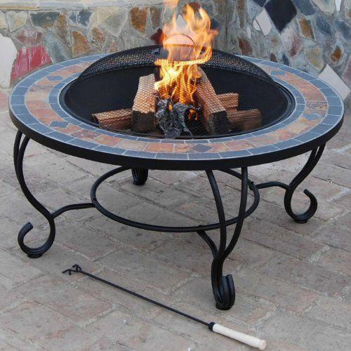 Beautiful Trueshopping U0027Villa Beaconu0027 Outdoor Garden Fire Pit Combined Charcoal Patio  Burner / Slate Coffee