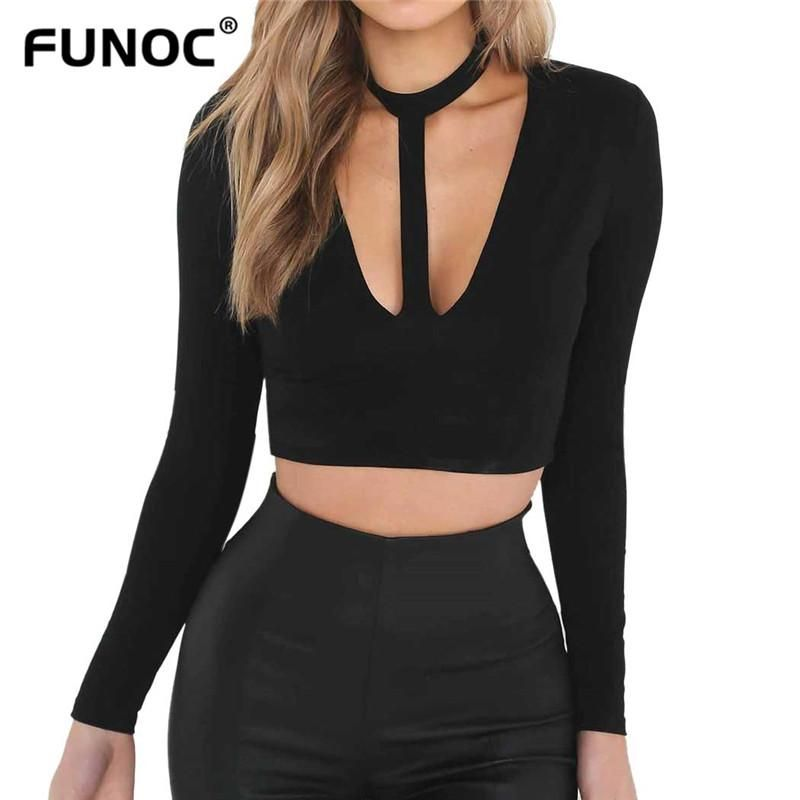 101492ab77a12 Funoc Sexy Ribbed T-Shirts Women Black Fashion Deep V-neck Autumn Casual  Long Sleeve Ladies Cut Out Choker T shirt Tees Tops