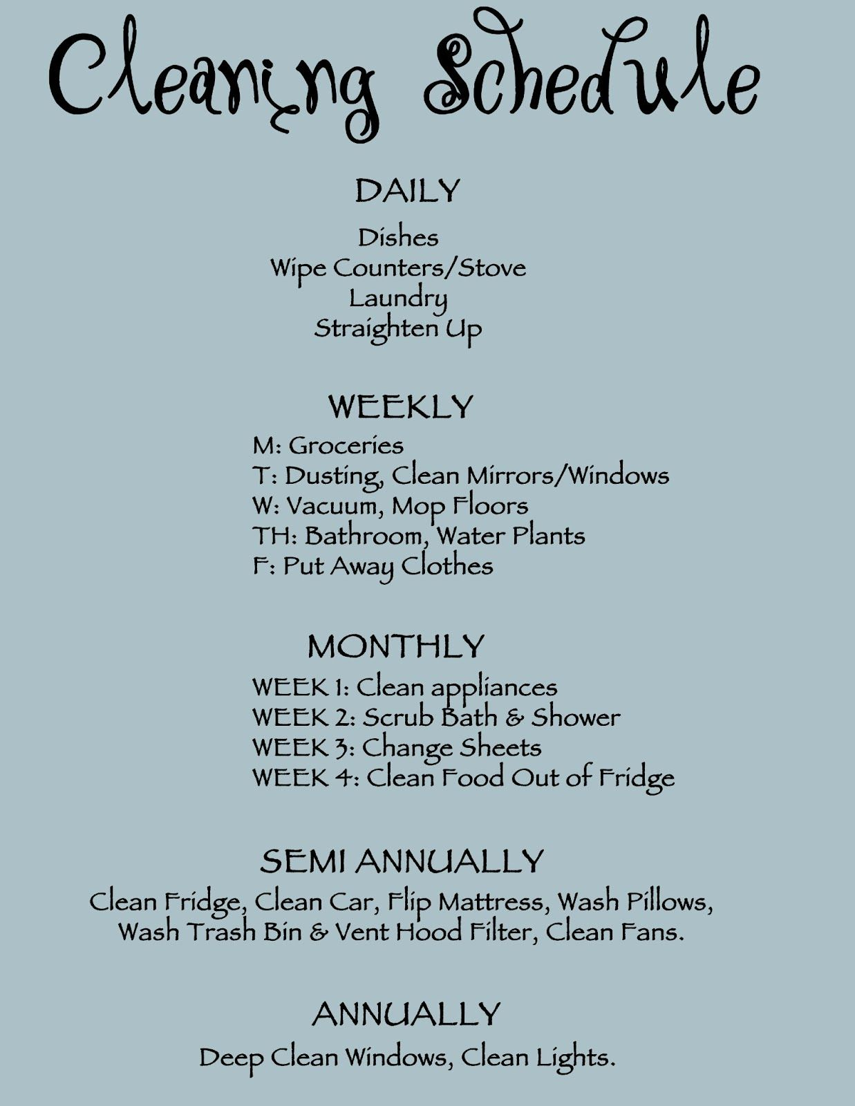 Cleaning Schedule Printable  Household Tips
