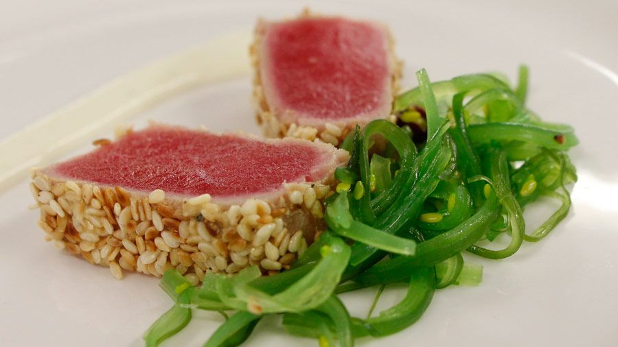 Miguel maestres mustard and sesame seared ahi tuna loin recipe food forumfinder Image collections
