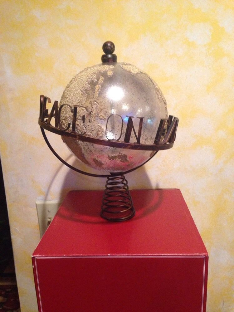 Peace Christmas Tree Topper.Pottery Barn Peace On Earth Christmas Tree World Globe