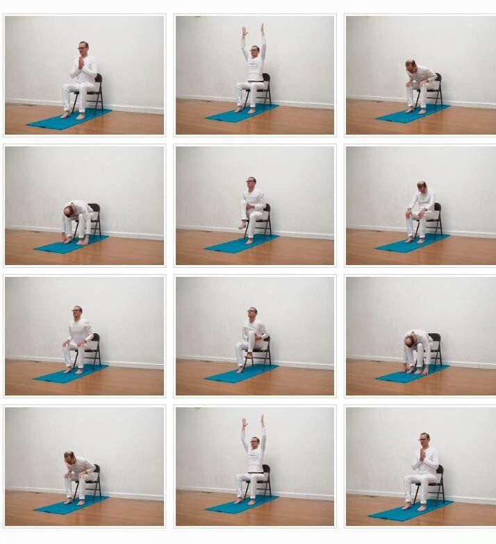 Chair Sun Salutation Http Www Accessibleyoga Org 1 Post 2016 04 Chair Sun Salutations With Jivana Heyman Html Chair Yoga Chair Pose Yoga Wall Yoga