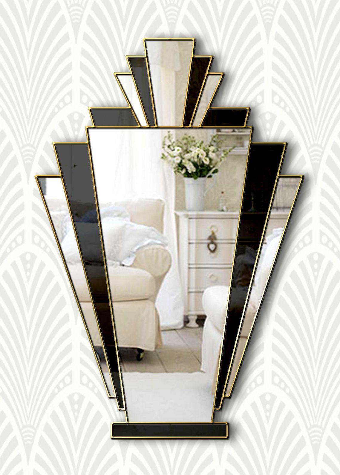 Babushka original handcrafted art deco fan mirror with