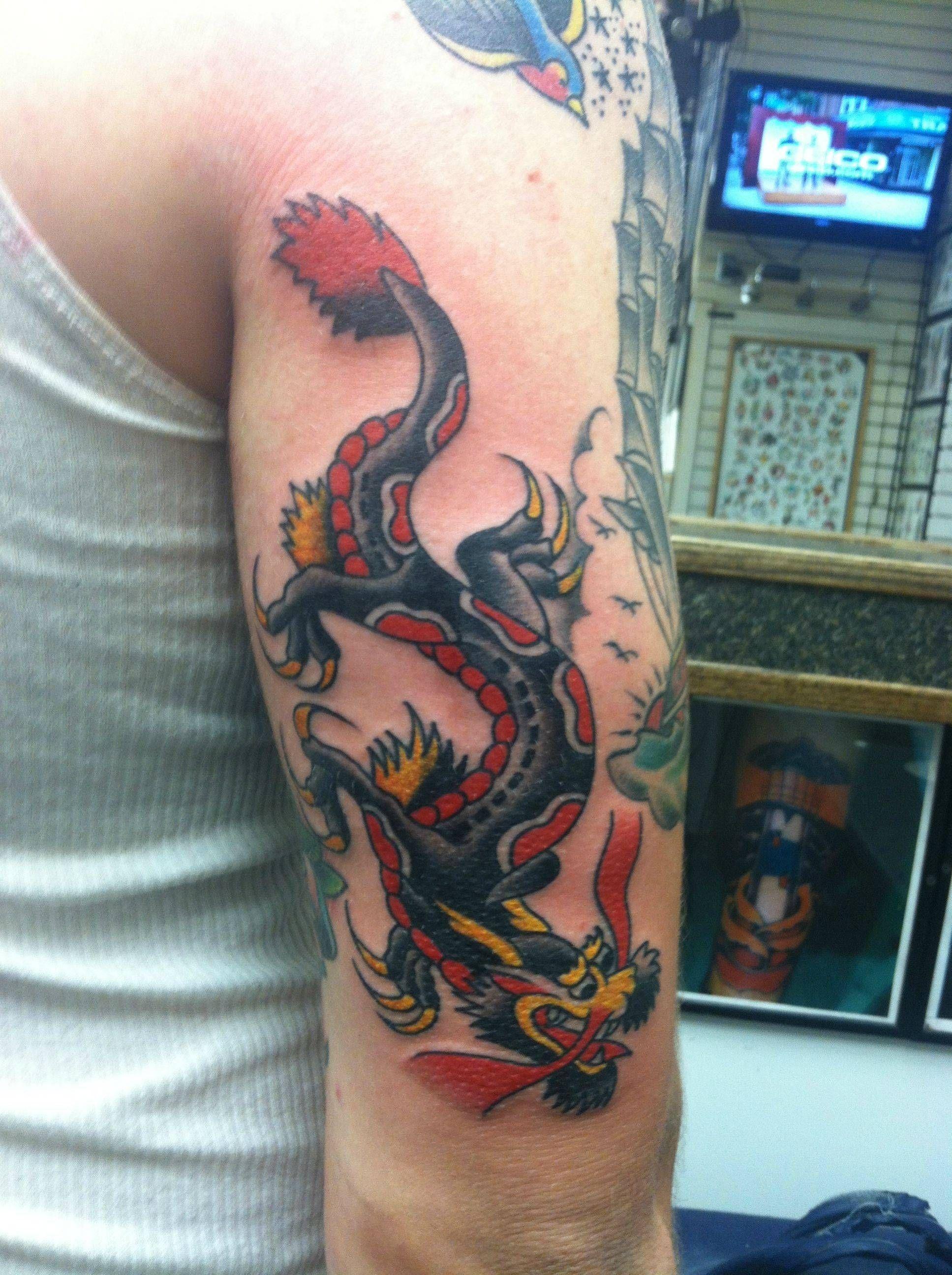 American traditional dragon. Traditional tattoo dragon