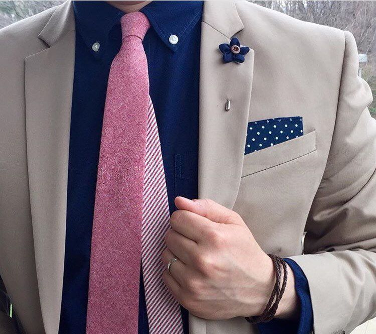 Tan Suit Blazer Jacket, Navy Blue Shirt, Pink Tie, Polka ...