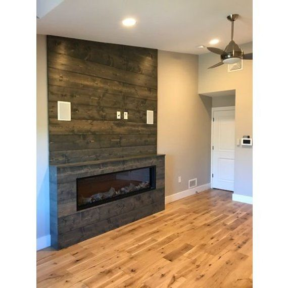 Shiplap Wall Weathered Gray Feature Wall Accent Wall Wood Wall Shiplap Modern Fireplace Accent Walls Accent Walls In Living Room Electric Fireplace Wall