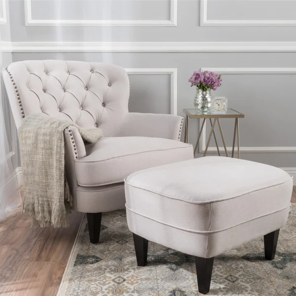 Tafton Tufted Fabric Club Chair With Ottoman By Christopher Knight Home Grey Living Room Chairs Living Room Furniture Furniture
