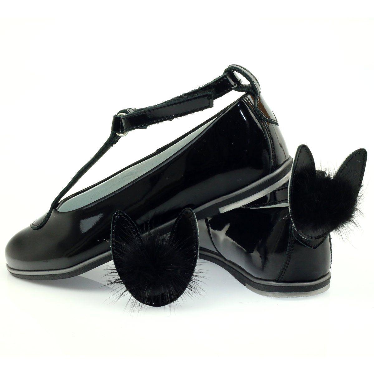 Balerinki Puszek Z Uszkami Bartek 45025 Czarne Kid Shoes Ballerina Kids Leather Shoes