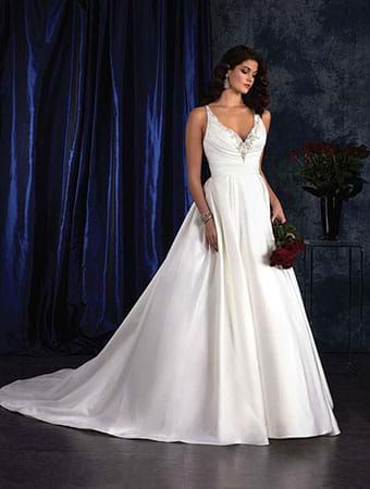 Alfred Angelo Style 406 Satin Ball Gown Wedding Dress With V