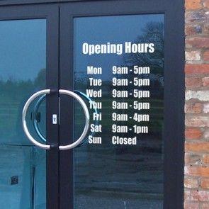Opening Hours Times Shop Custom Vinyl Sign / Sticker