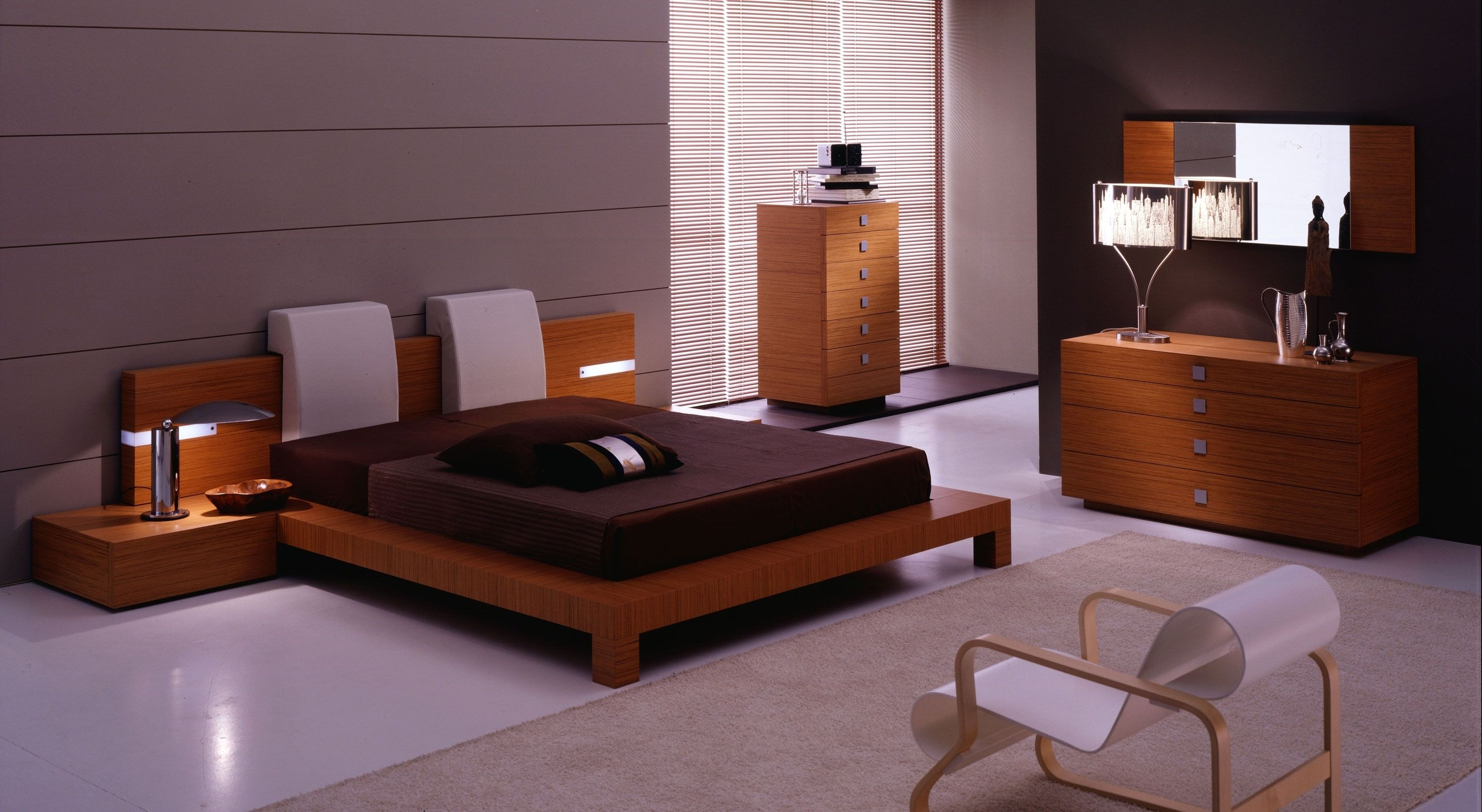 Brown Teak Bed Frame With Black Bed Sheet Connected By Brown Wooden Bedside  Table On White Floor. Elegant Teak Bed Frame To Renew Your Old Bed