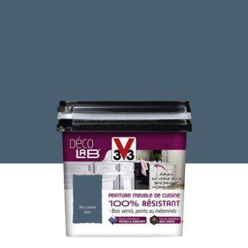 Peinture Décolab meuble de cuisine 100%Résist V33, Bleu carbone, 0.75 l | Leroy Merlin | Meuble ...