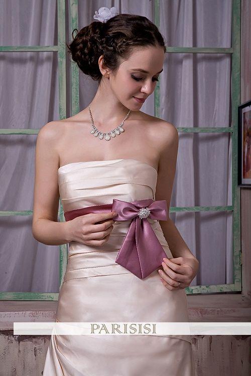 Estilo de trompeta de la boda vestido de satén sin mangas,€262
