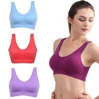 Women Lady Seamless Sports Bra Yoga Vest Tops Padded Underwear No-wire Rims Bras