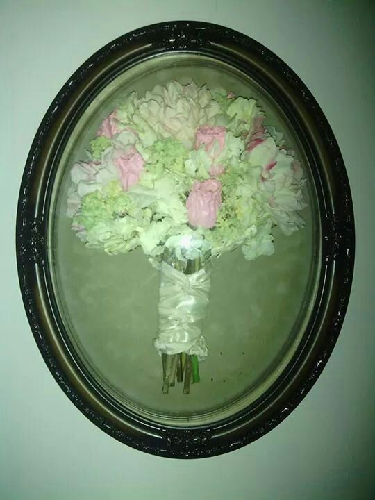Restored and Preserved Wedding Bouquet in a walnut frame from Lasting Memories Floral Preservation  248.375.7755 www.LMFP. net