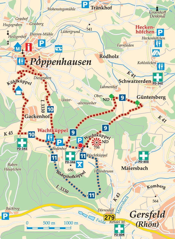 Rhon Rundweg 11 Wachtkuppel Karte Denkmal Wasserkuppe Karten